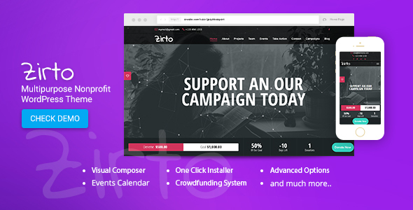 Zirto - Multipurpose Nonprofit Theme            TFx