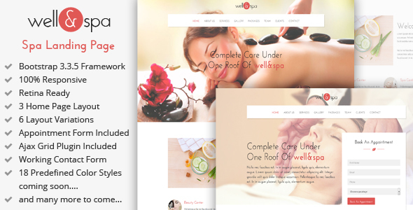 well&spa- Responsive Spa/Beauty Landing Page Template            TFx