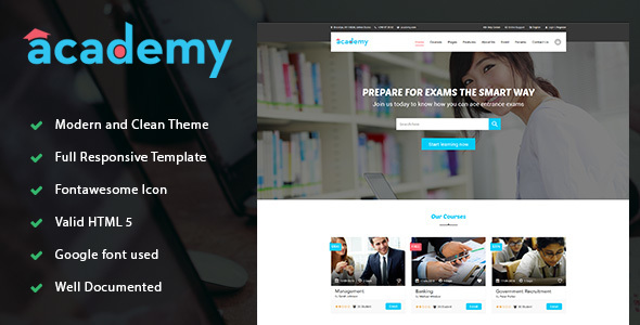 Academy - Education LMS Responsive Site Template            TFx