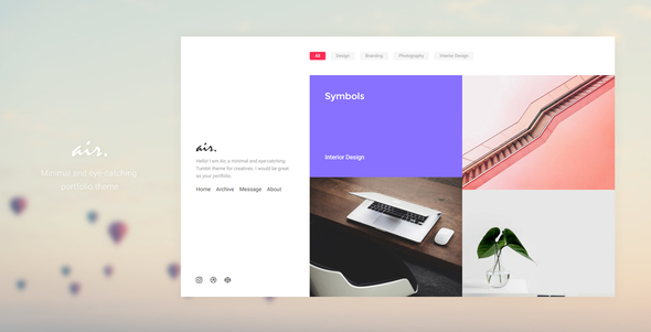 Air – Minimal and Eye-Catching Portfolio Tumblr Theme            TFx