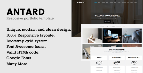 Antard   Responsive Portfolio HTML Template            TFx