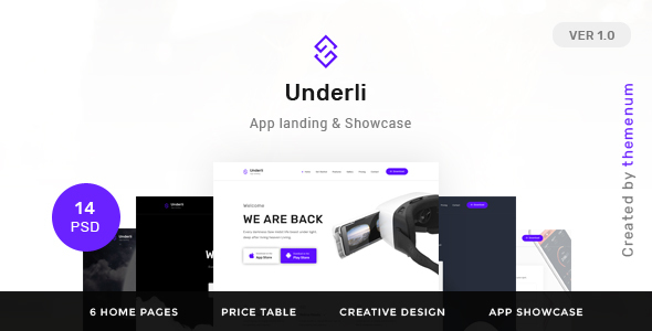 App Landing Page & Product Showcase PSD Template | Themenum            TFx
