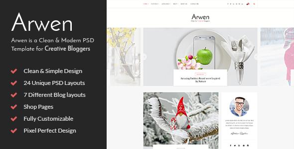 Arwen Creative Blog PSD Template            TFx