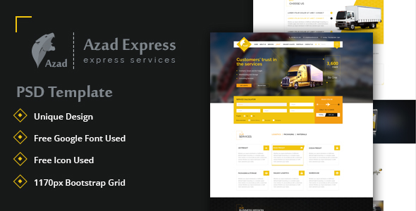 Azad, Trucking and Express Logistics Services PSD Template            TFx
