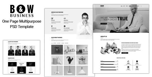 B&W – One Page Multipurpose PSD Template            TFx