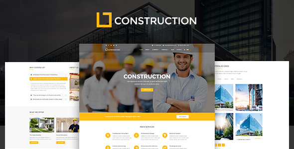 Construction - Construction Company, Building Company Template            TFx