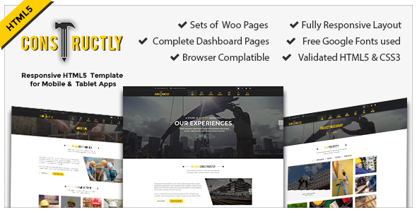 Constructly – Construction - Architecture - Corporate HTML5 Template            TFx