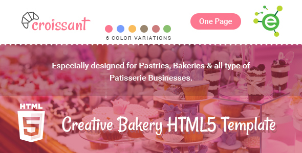 Croissant – Creative Bakery and Pastry Business One Page HTML5 Template            TFx