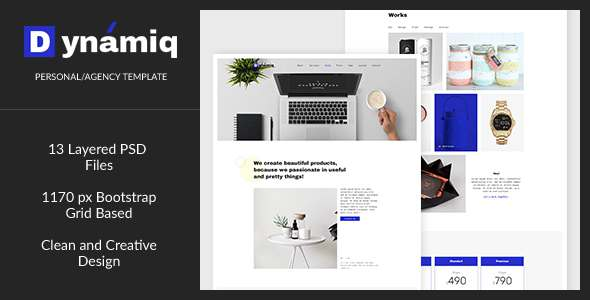 Dynamiq — Minimal and Creative Multipurpose Agency/Personal PSD Template            TFx