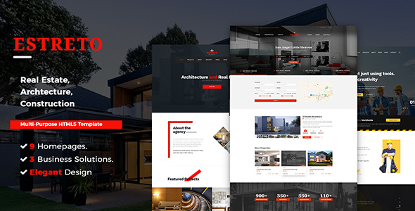 Estreto - Real Estate, Property, Architecture & Construction HTML5 Template            TFx