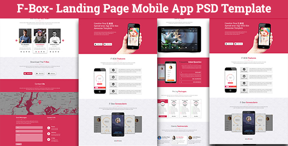 F-Box Landing Page Mobile App PSD Template            TFx