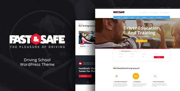 Fast & Safe | Driving School WordPress Theme            TFx