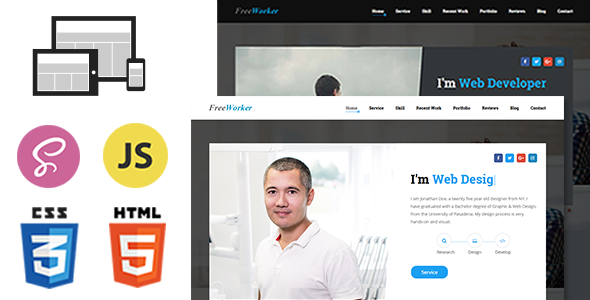 FreeWorker – Personal Portfolio One Page HTML Template            TFx