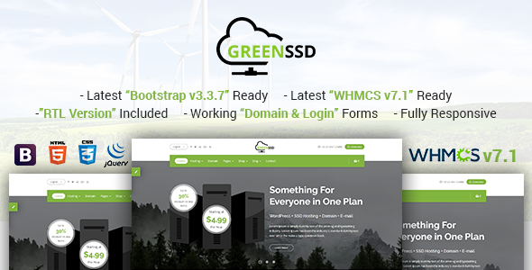 GREENSSD | Multipurpose Technology, Hosting Business with WHMCS Template            TFx