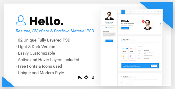 Hello - Resume, CV, vCard & Portfolio Material PSD Template            TFx