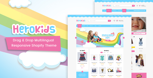 Herokids - Drag & Drop Multilingual Children Kids Shopify Theme            TFx