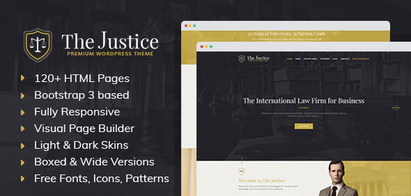 Justice - HTML template with Visual Page Builder for Advocate, Barrister, Attorney, Law Firm            TFx