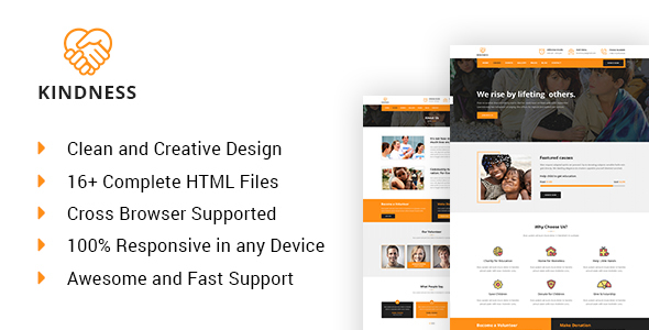 Kindness – Charity, Donation & Nonprofit HTML5 Template            TFx