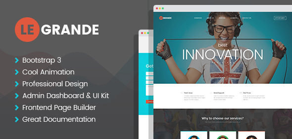 LeGrande - Corporate HTML Template with Visual Builder and Dashboard Pages            TFx