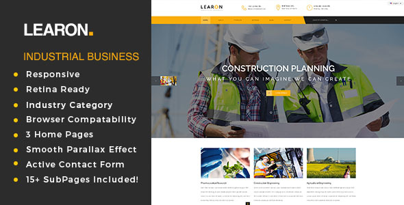 Learon - Factory & Industrial Business Template            TFx