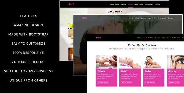 MILI-Beauty Saloon And Spa html5 Template            TFx
