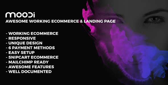 MOODI - Working Ecommerce & Multipurpose Landing Page            TFx