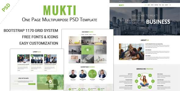 MUKTI – One Page Multipurpose PSD Template            TFx