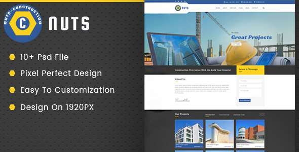 Nuts Construction & Business PSD Template            TFx
