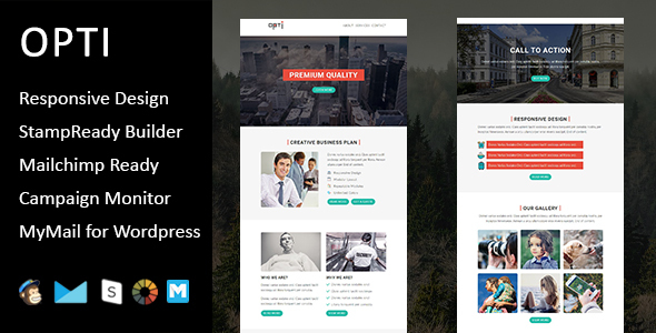 Opti – Multipurpose Responsive Email Template with Stampready Builder Access            TFx