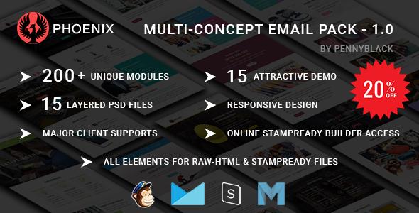 PHOENIX - Multi-Concept Responsive email Pack            TFx