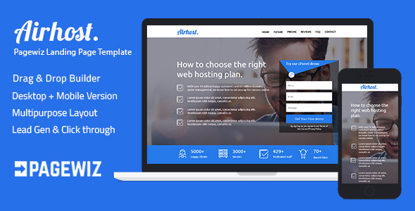 Pagewiz Responsive Landing Page Template - Airhost            TFx