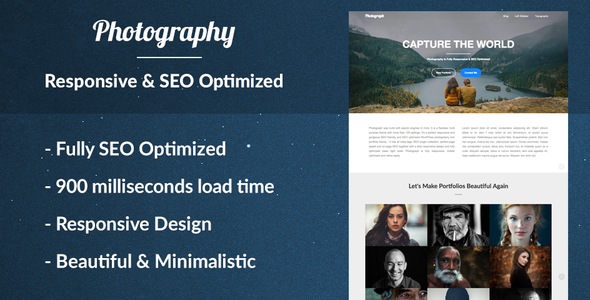 Photograph the Responsive Photography Portfolio WordPress Theme for Photographers - SEO Optimized            TFx