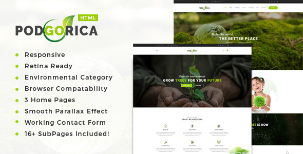 Podgorica – Environment / Non-Profit HTML Template            TFx