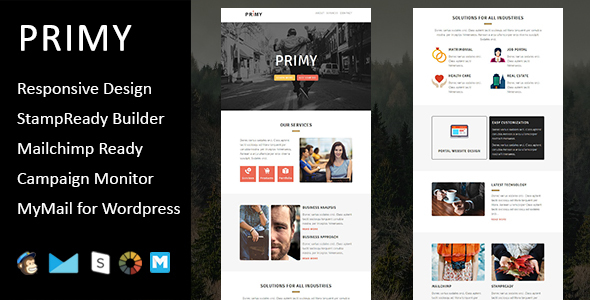 Primy - Multipurpose Responsive Email Template with Stampready Builder Access            TFx