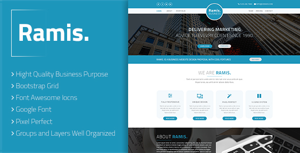 Ramis. - Business Landing Page PSD Template            TFx