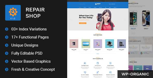 Repair Shop - Mobile & Gadget Repairing PSD Template            TFx