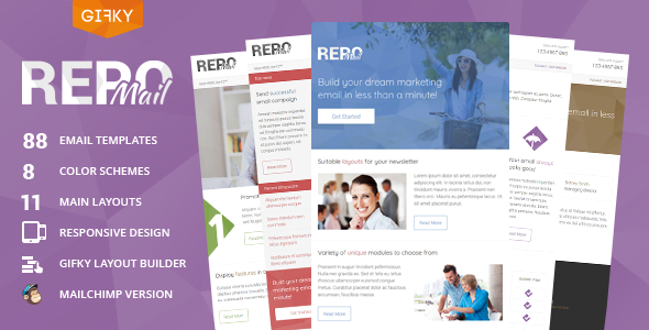 Repo Mail – Responsive Email Template + Access to Gifky Layout Builder            TFx