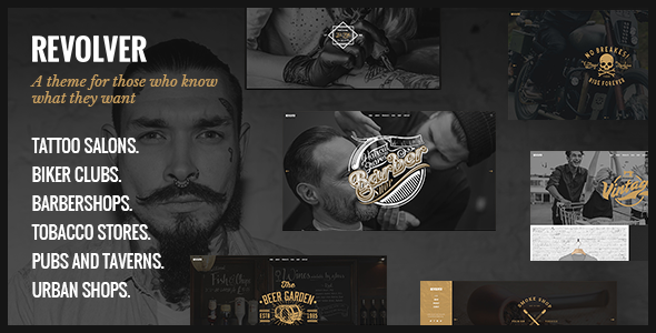 Revolver - A Gentlemen's Theme for Tattoo Salons, Barbershops, Pubs and Biker Clubs            TFx