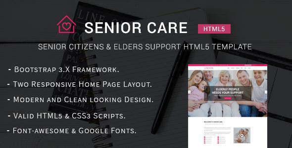 Senior Care - Senior Citizens & Elders Support HTML5 Template            TFx