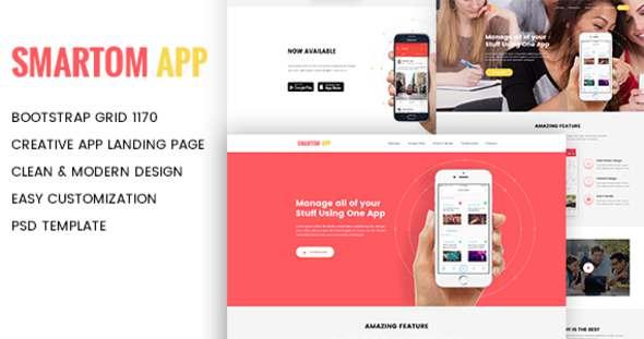 SmartomApp - App Landing PSD Template            TFx