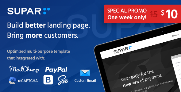 Supar | Multi-Purpose Landing Page HTML Template            TFx