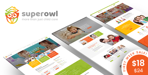 SuperOwl - Kindergarten, School of Early Learning, Nanny Agency HTML Template            TFx