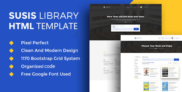 Susis Library & Book Showcase HTML5 Template            TFx