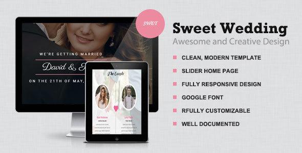 Sweet Wedding -  Responsive & elegant wedding Template            TFx