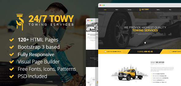 Towy – Emergency Auto Towing and Roadside Assistance Service HTML Template with Builder            TFx