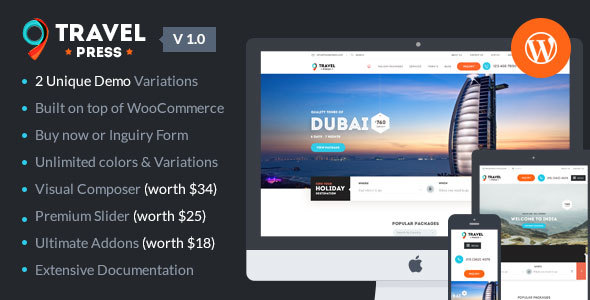 TravelPress - Tour Operator / Vacations / Travel Agency WordPress Theme            TFx