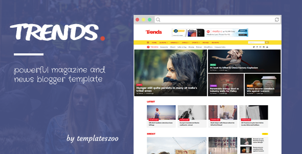 Trends - News/Magazine Responsive Blogger Template            TFx