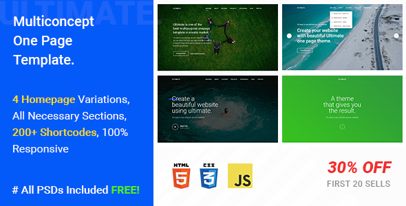 Ultimate – A Mega One Page Responsive Template            TFx