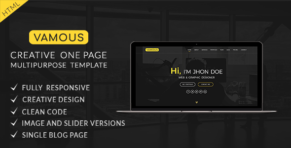 Vamous | Creative One Page Portfolio & Multipurpose HTML5 Template            TFx