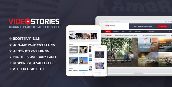 VideoStories – A Powerful Responsive Video Blogging HTML5 Template            TFx